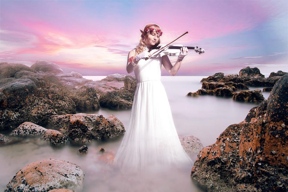 Elf, Violin, Violinist, Concert, Instrument, Beach