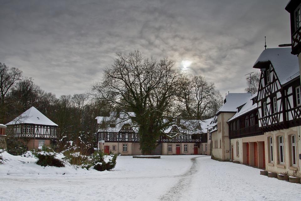 Düsseldorf, Eller, Castle, Schloss Eller, Snow, Winter