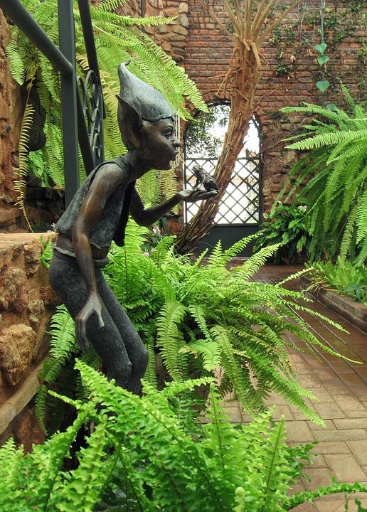 Garden, Elves, Frog, Fantasy, Statue, Green House
