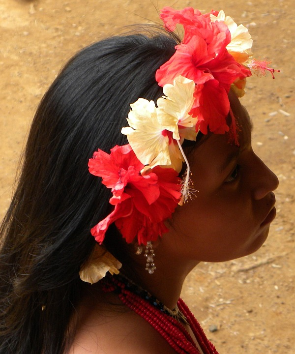 Floral Wreath, Girl, Indio, Embera, Panama