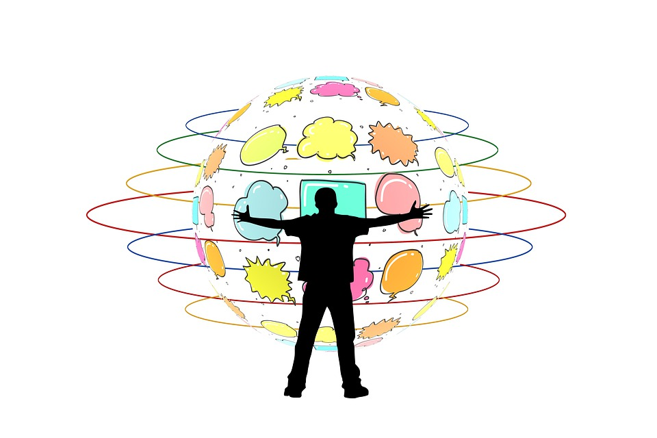 Man, Silhouette, Balloon, Thought Bubble, Embrace, Hug