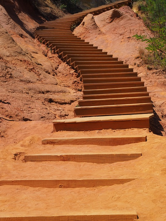 Stairs, Gradually, Nature Park, Rise, Emergence, Wound