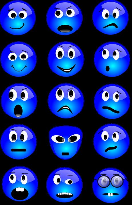 Emoticons, Smilies, Set, Smiley, Blue, Expression, Face