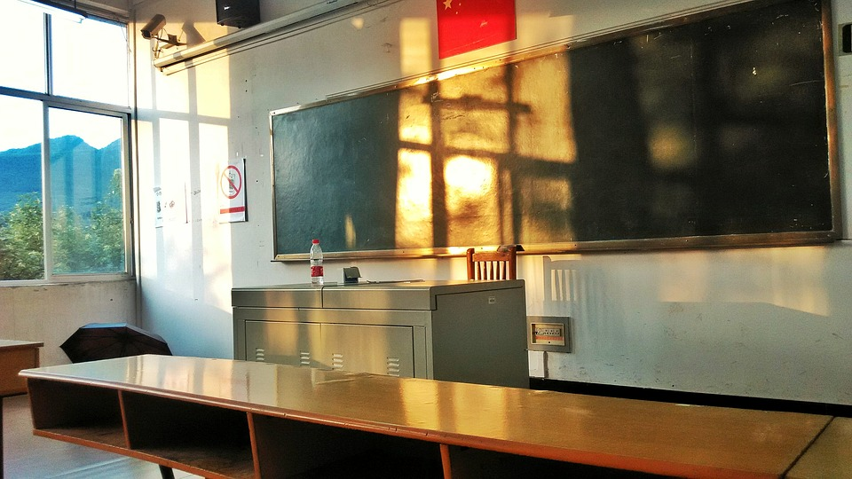 Classroom, Twilight, Empty, At Dusk