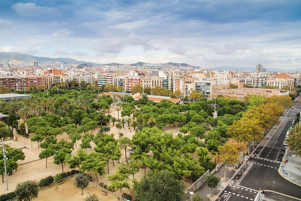 Panorama, Street, Park, Empty, Barcelona, Spain