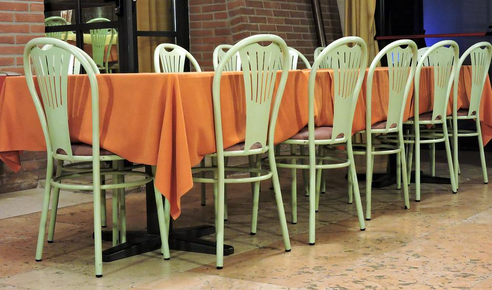 Table, Freely, Empty, Chairs, Restaurant