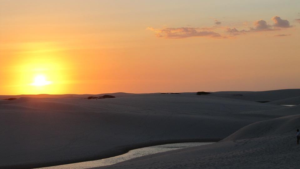 Sunset, Lençós Maranhenses, End Of Afternoon, Dune, Sky
