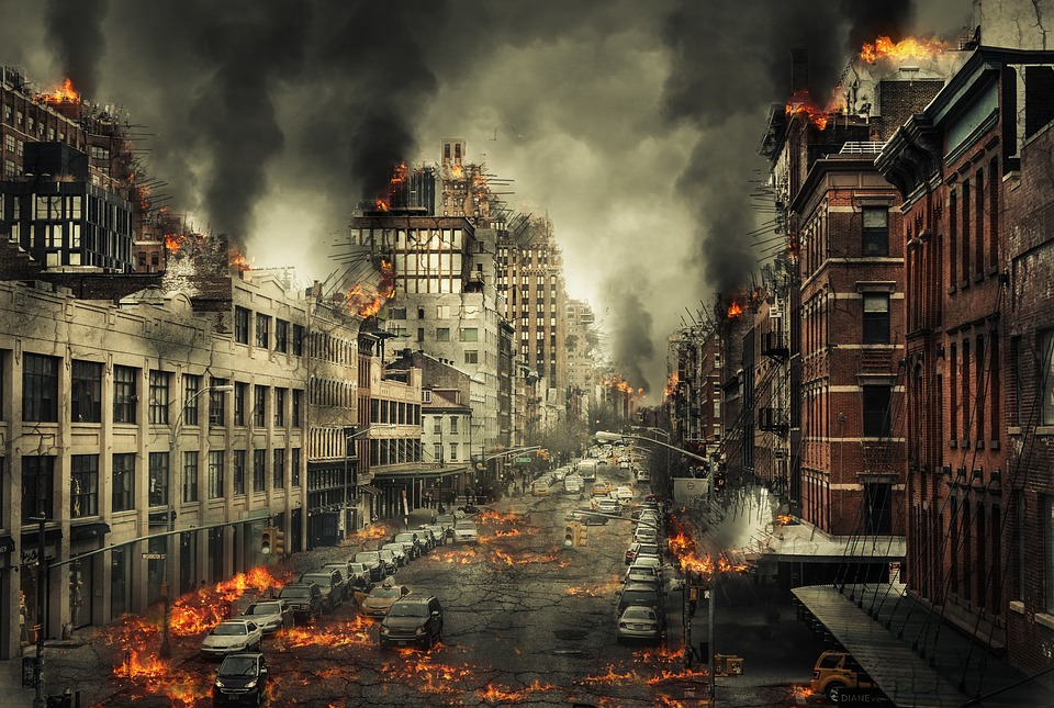 City, Disaster, End Of The World, Fire, Lightning