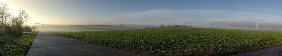 Windräder, Fog, Sun, Sunrise, Wind Power, Energy