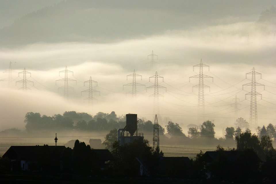Morgenstimmung, Fog, Farm, Energy, Power Poles, Autumn