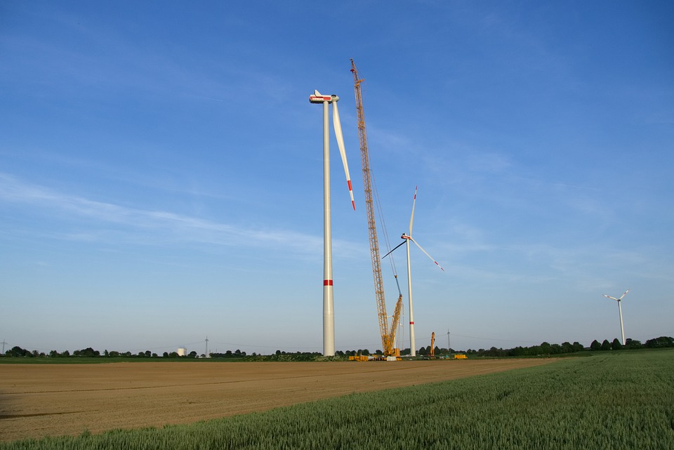 Energy Revolution, Pinwheel, Site, Crane, Cornfield