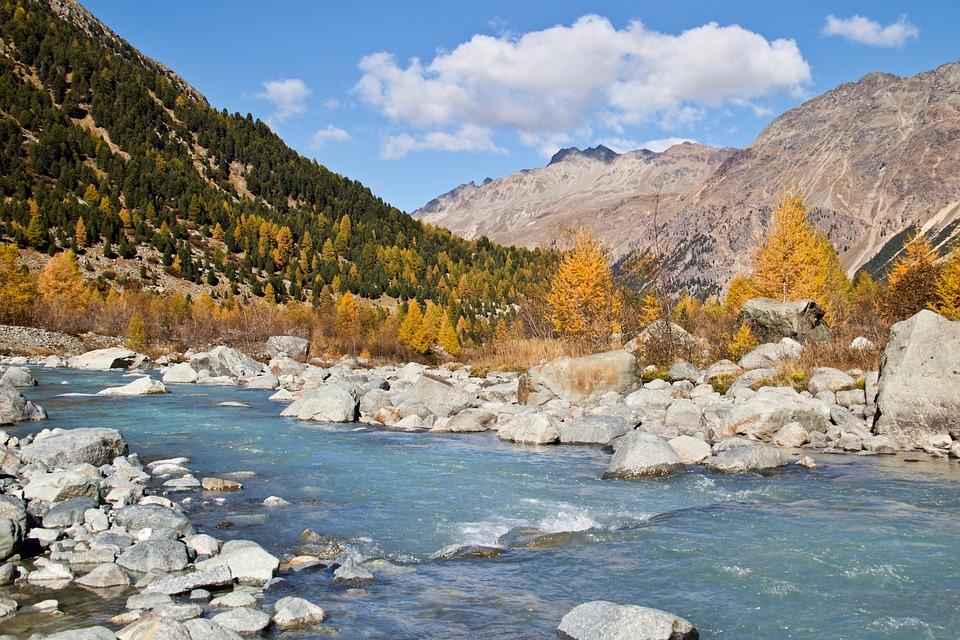 Engadin, Autumn, Larch Discoloration, Mountains