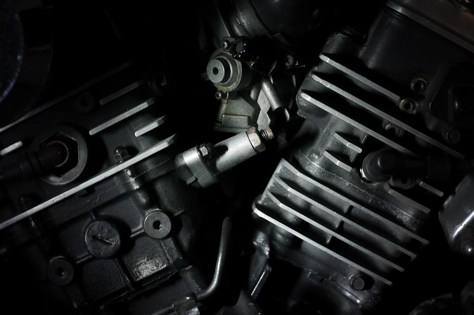 Engine, Automotive, Black And White