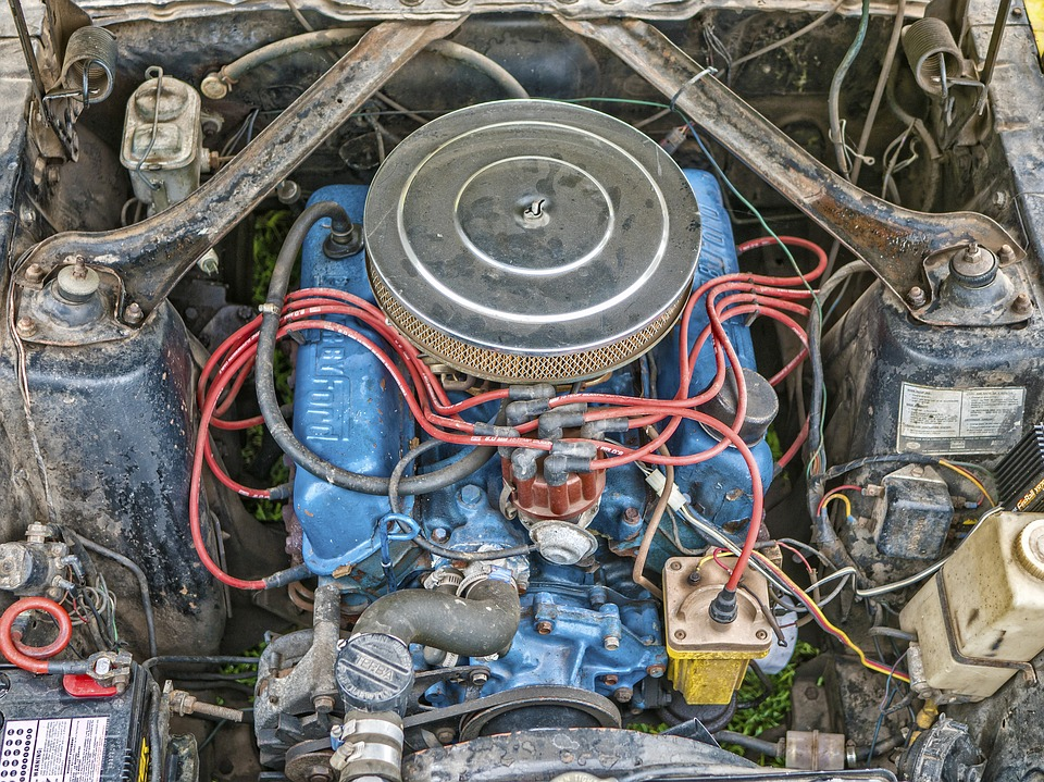 Mustang, Engine, Block, Vintage, Car, Metal, Vehicle
