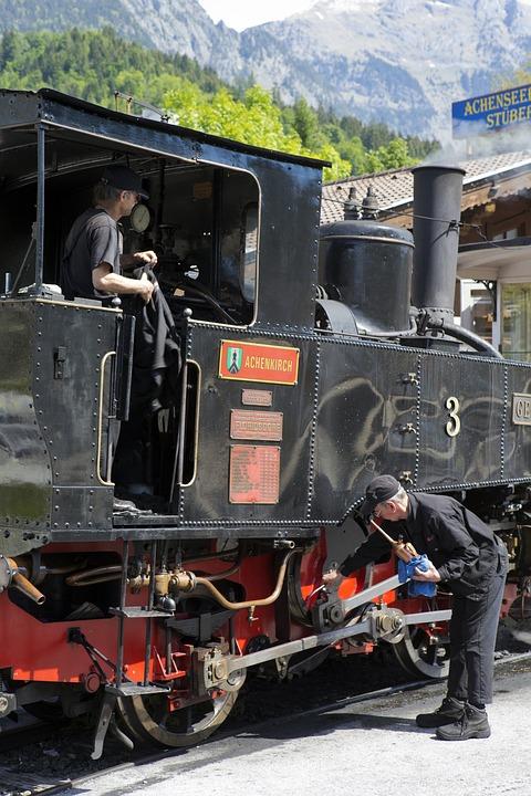 Austria, Locomotive Maintenance, Oil Can, Engineer
