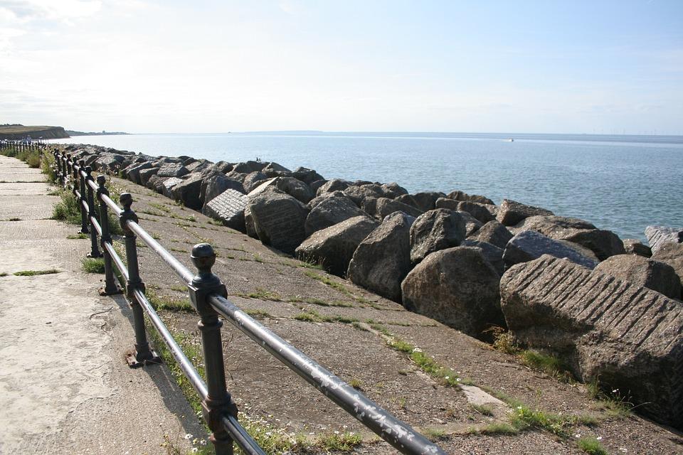 Reculver, Kent, England, Seaside, Beach, Rocks
