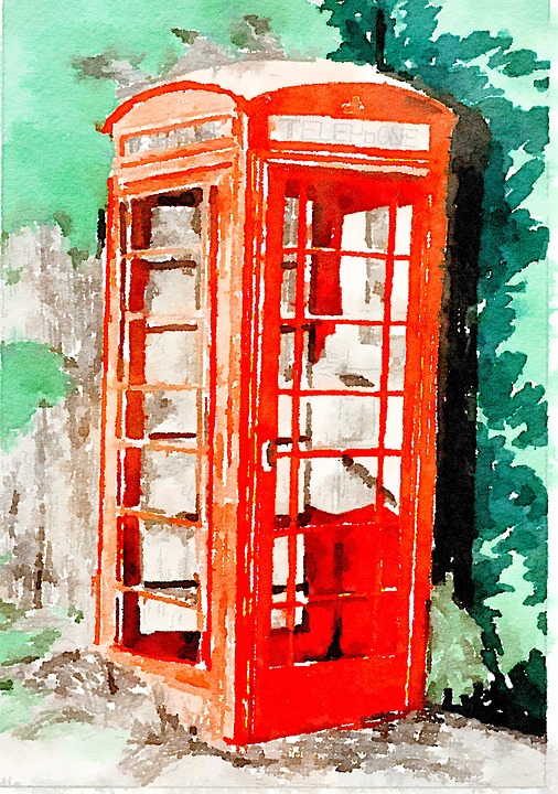 Telephone, England, Drawing, Watercolour