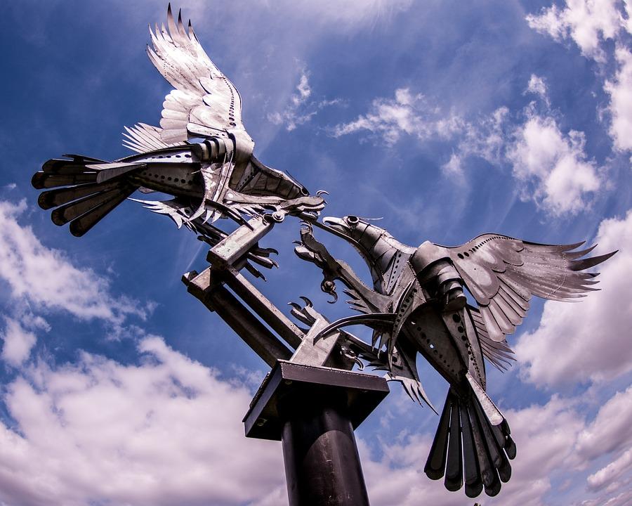 Malvern, Eagles, England, Britain, Statue, Metal
