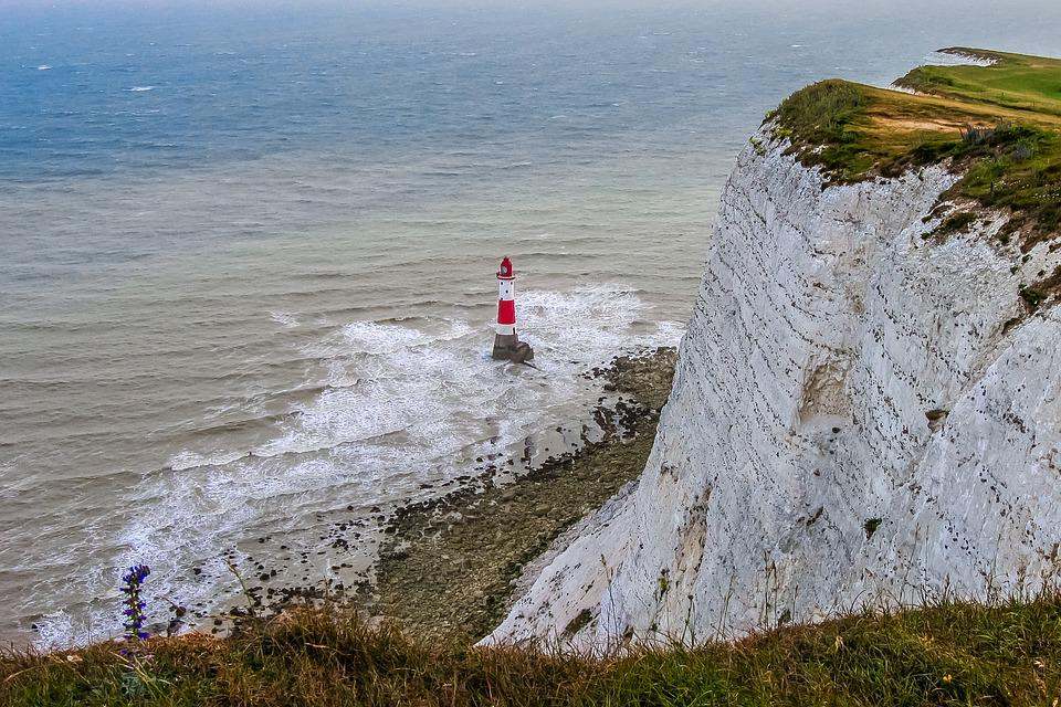 Beachy Head, England, Rocks, Lighthouse