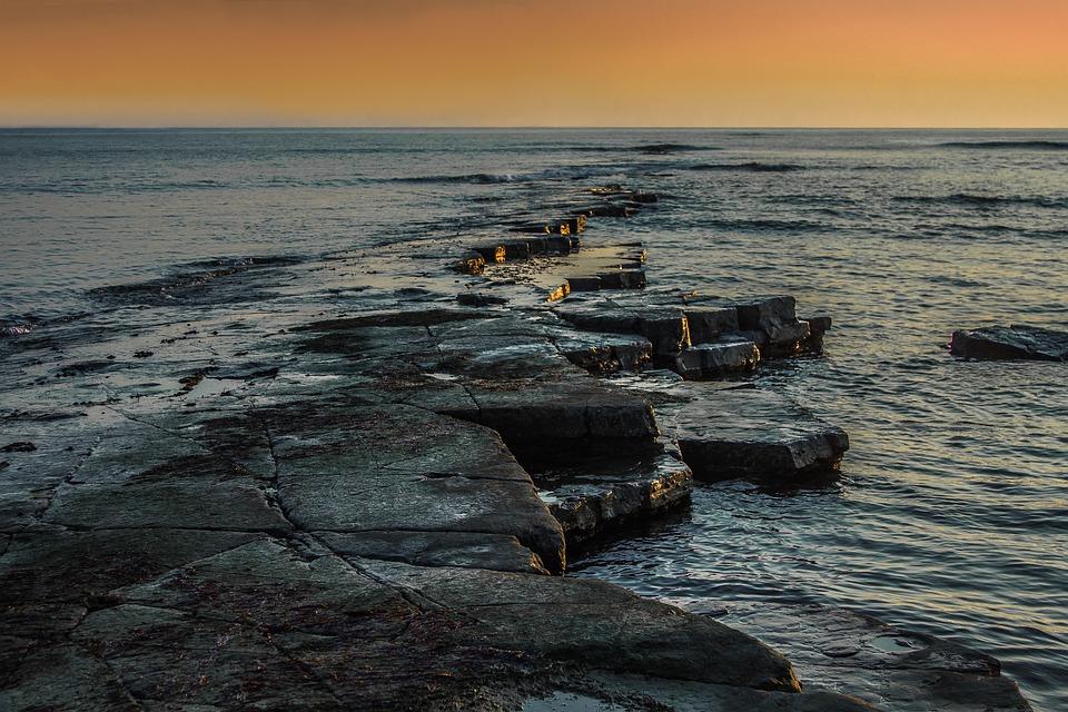 Twilight, Ocean, Dorset, England, Reefs