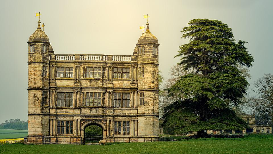 Castle, Tree, Romantic, Tixall Gateway, Uk, England
