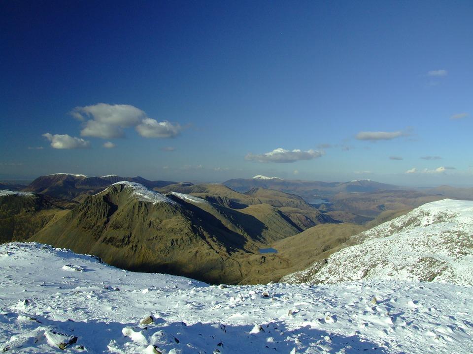 Lake District, England, Mountains, Snow, Scafell Pike