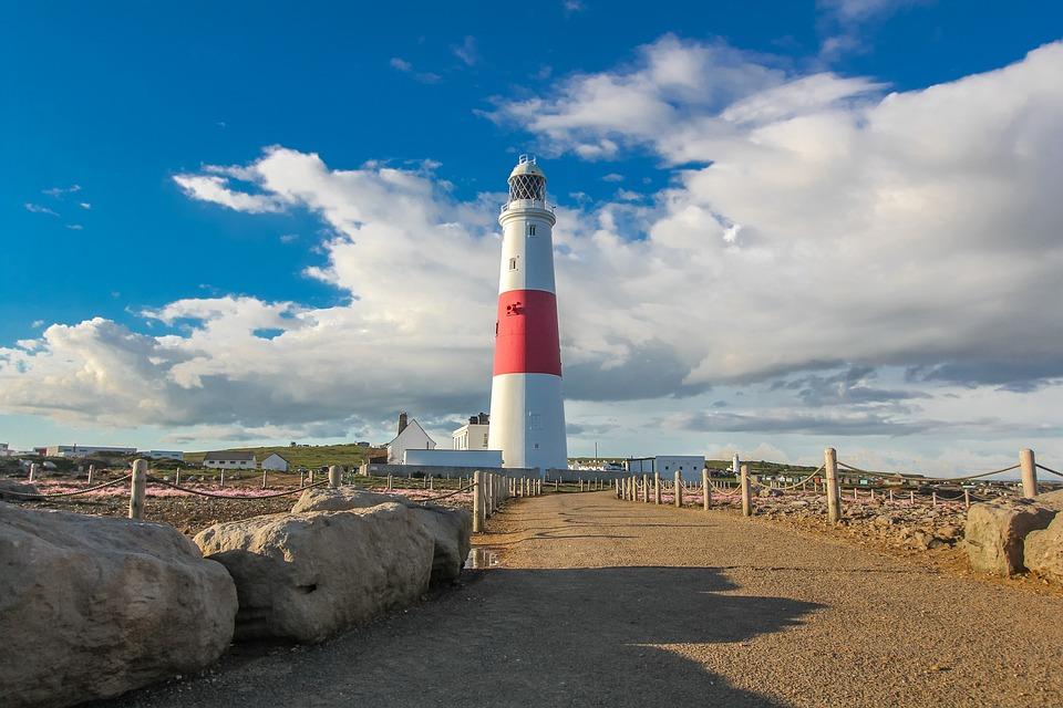 Lighthouse, Portland, Ocean, Sky, England