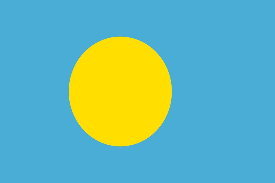 Palau, Flag, National Flag, Nation, Country, Ensign