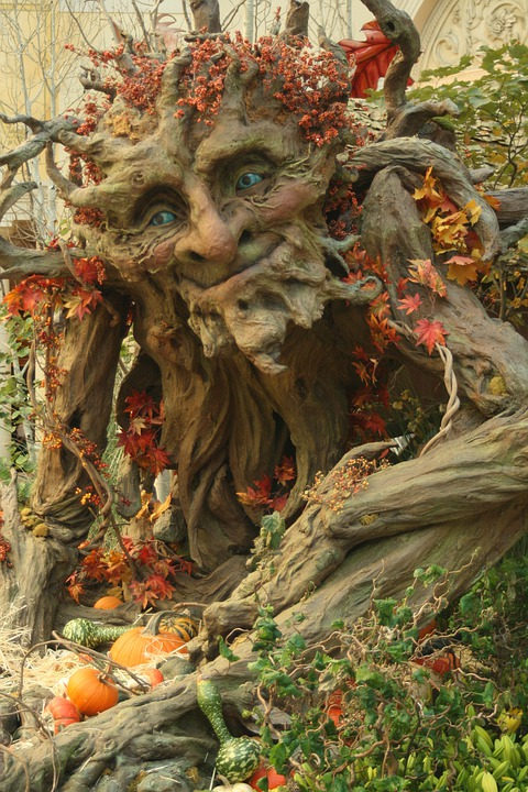 Green Man, Harvest, Ent, Tree, Gourds, Fall, Orange