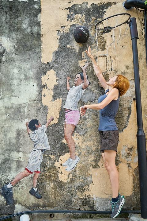 Woman, Basketball, Funny, Entertainment, Graffiti