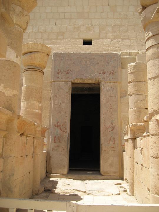 Entrance, Egypt, Columns, Ancient, Old, Historical