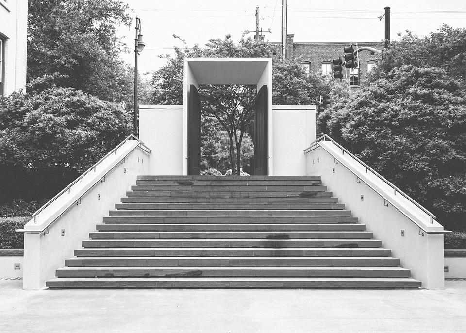 Steps, Railing, Gate, Entrance, City, Trees
