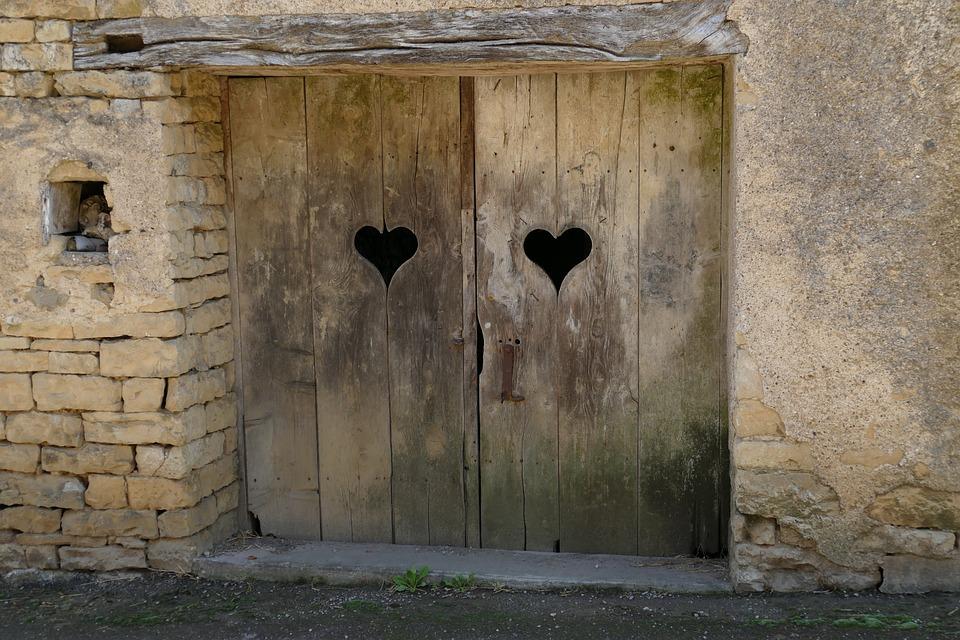 Door, Access, Entrance, Port, Wood, Heart, Love, Old