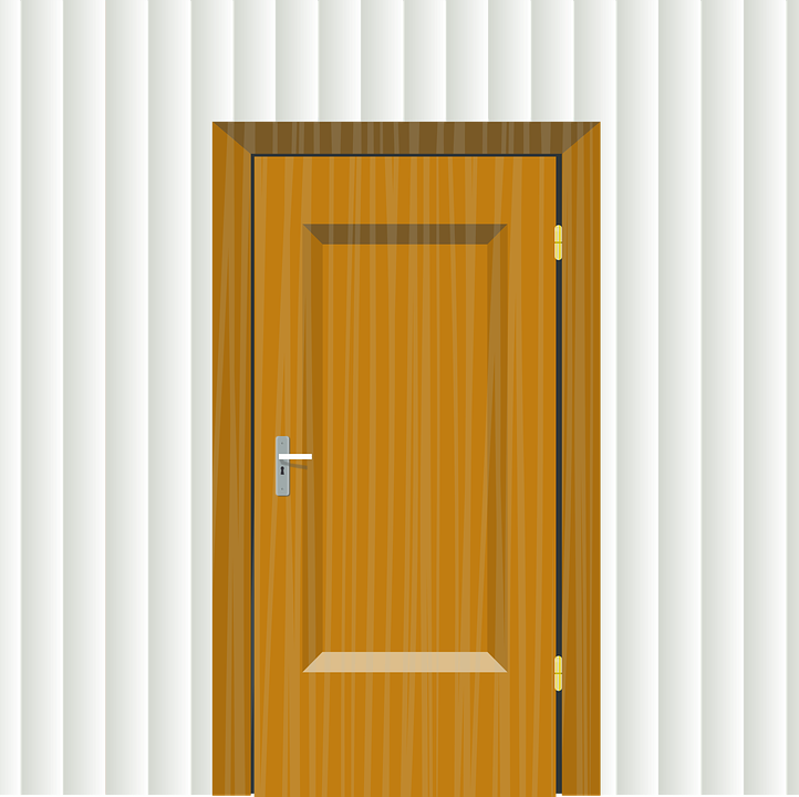 Wall, Door, Inset, Entry, Closed, Wooden