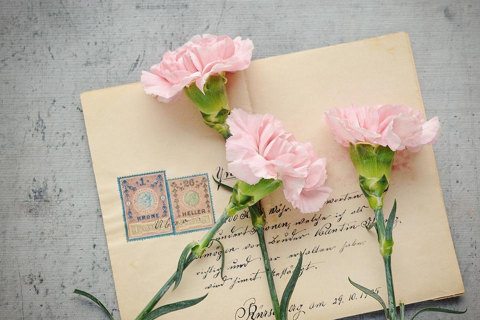Letter, Envelope, Flowers, Stamps, Handwritten