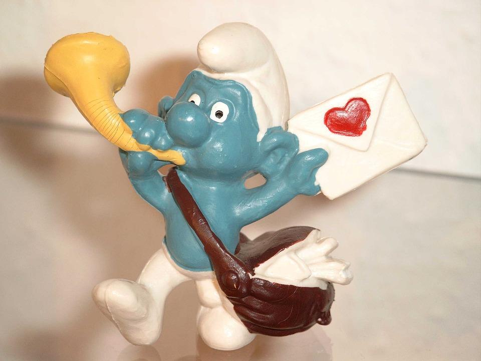 Smurf, Smurfs, Love Letter, Envelope, Heart, Postman