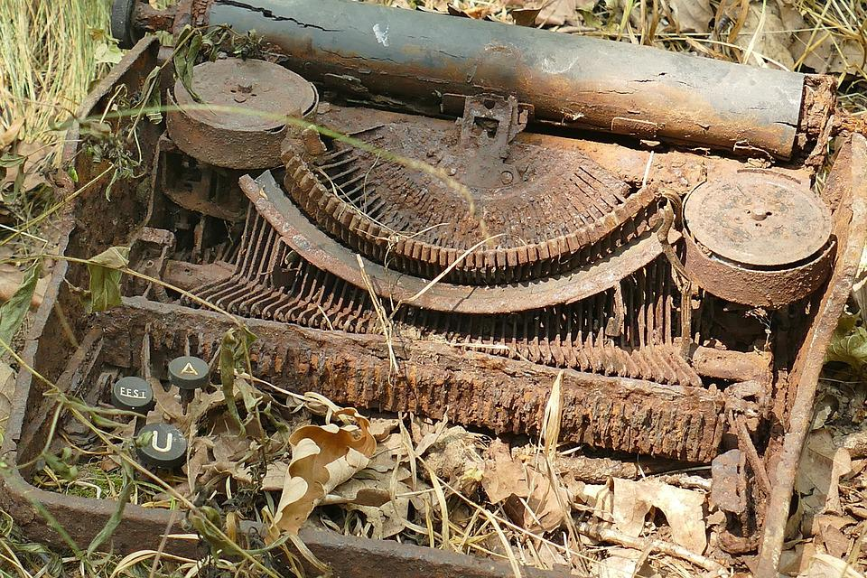 Typewriter, Old, Rots, Nature, Environmental Awareness