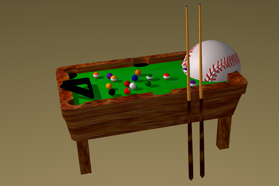 Baseball Ball, Billiard, 3d, Scene, Equipment