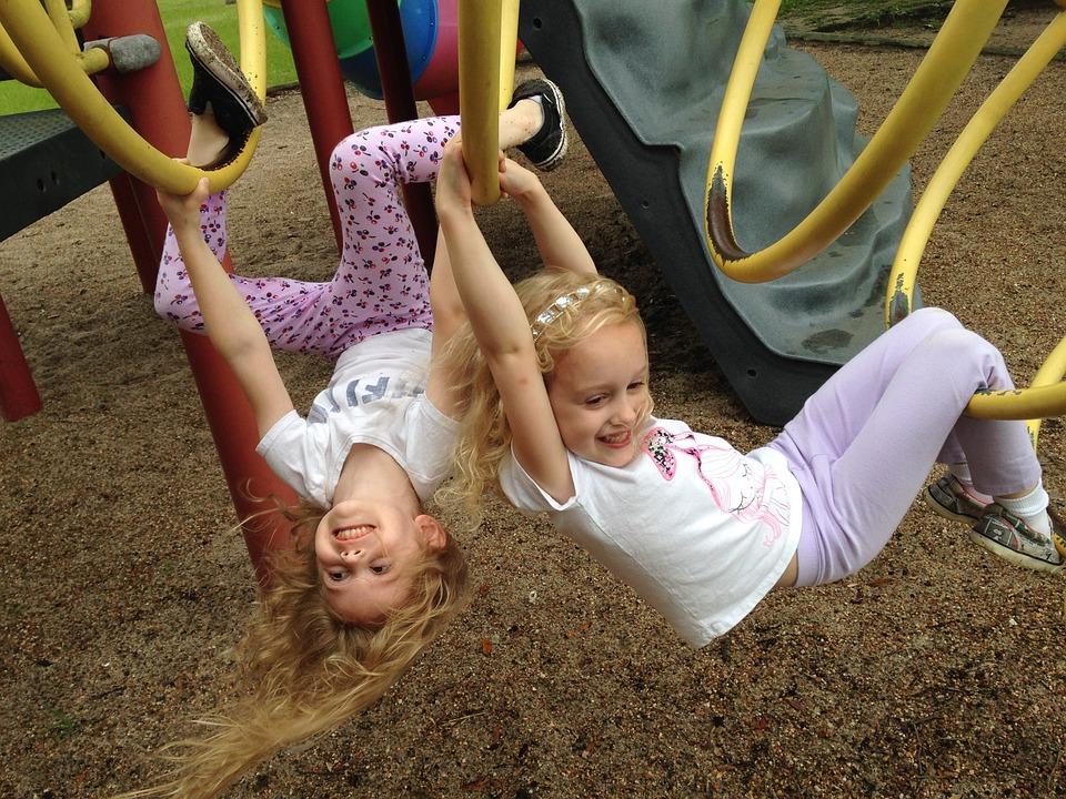 Play, Playground, Park, Equipment, Monkey Bars, Girls