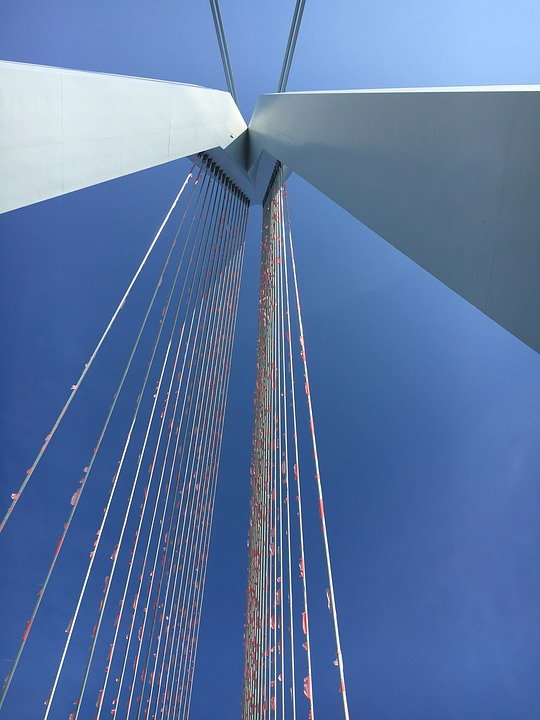 Erasmus Bridge, Rotterdam, Flags, Air, Bridge, Holland
