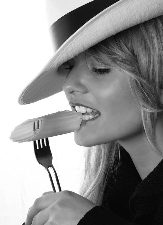 Girl, Model, Eat, Fork, Blonde, Hat, Pretty, Erotic