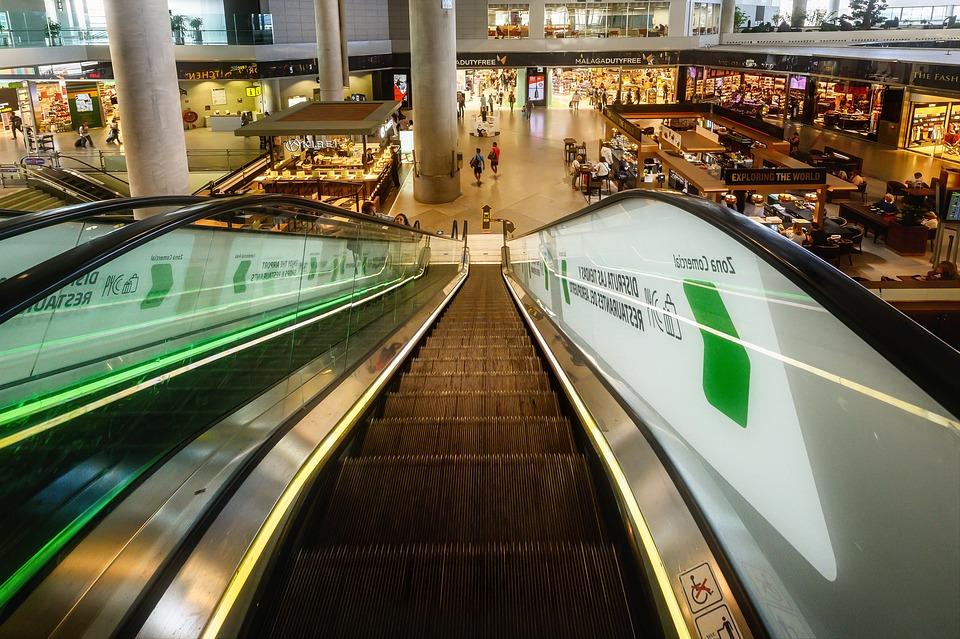Escalator, Stairs, Airport, Urban, Modern, Perspective