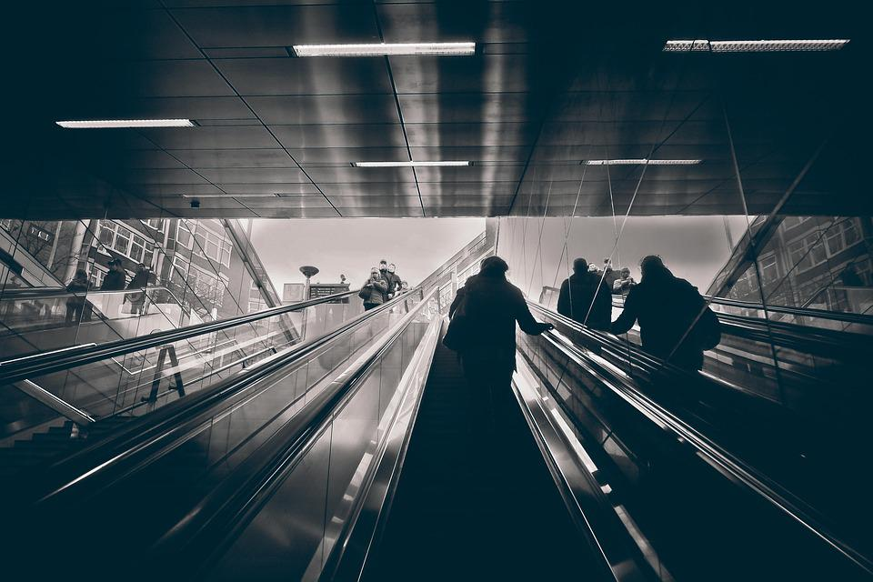 Escalators, Metro, Railway Station, Stairs
