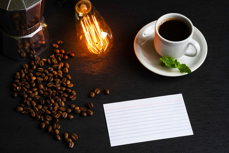 Espresso, White Cup, Black Coffee, Index Card, Greeting