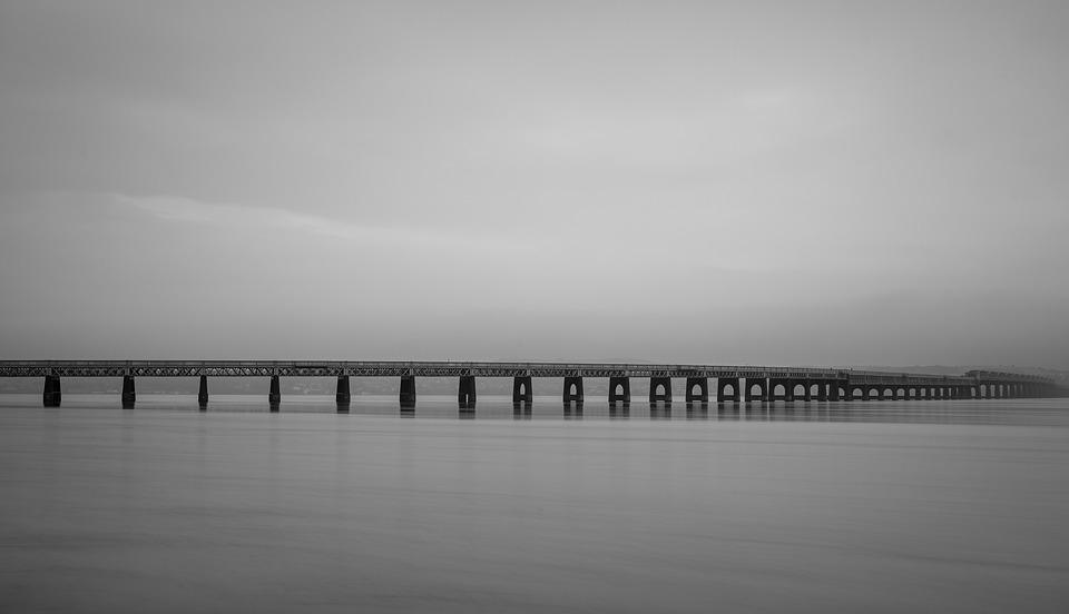 Bridge, Sea, Ocean, Black And White, Estuary, Landscape