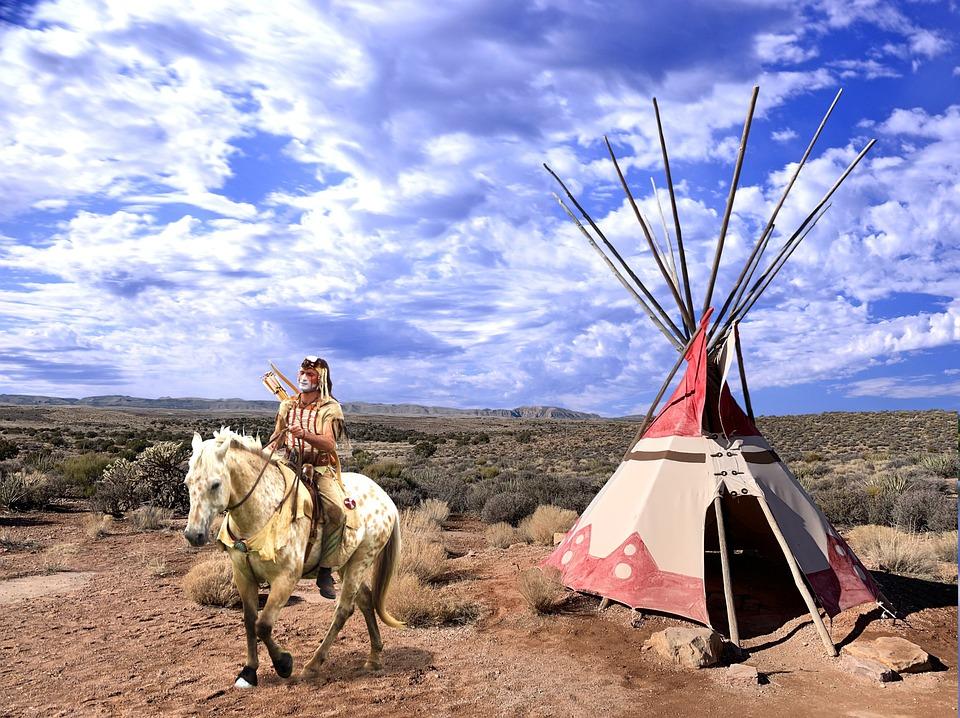 Horse, Man, Teepee, Native American, Ethnic, Warrior