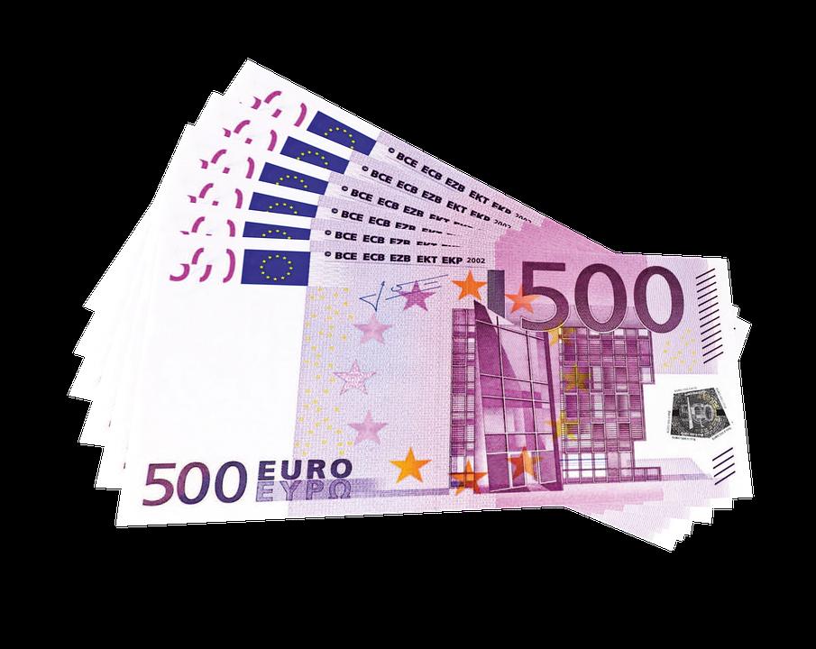 Money, Euro, Euros, Bills, 500, Cash, Stack, Wad, Pile