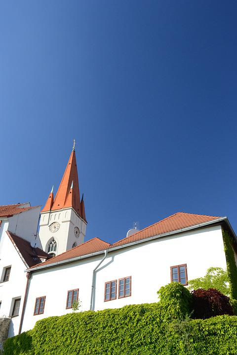Church, City, Architecture, Europe, Towers, Znojmo