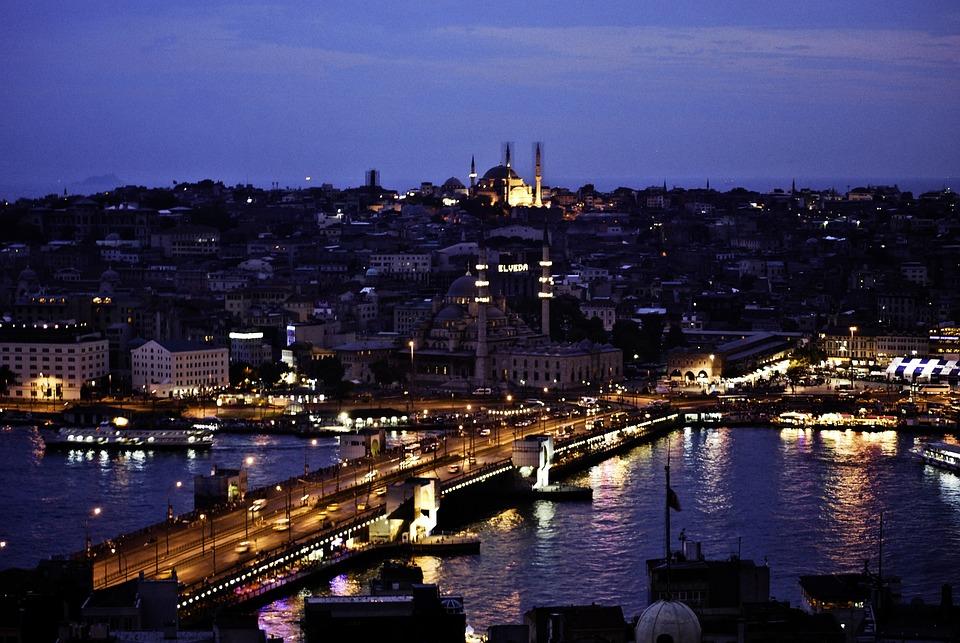 Istanbul, Night, River, Europe, Asia