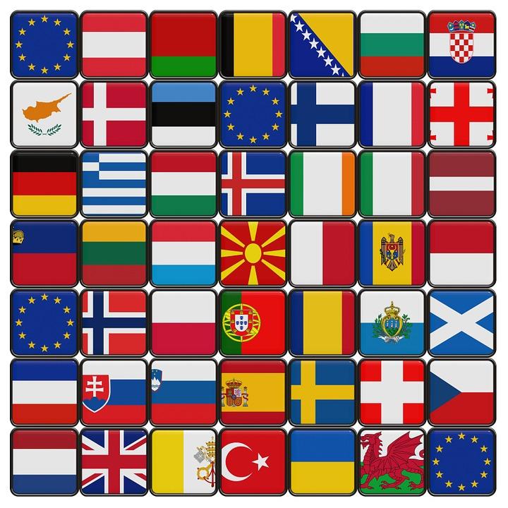 Europe, Flag, Star, Button, Blue, European, Patchwork